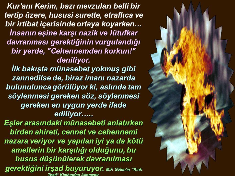 Kur'anı Kerim, bazı mevzuları belli bir tertip üzere, hususi surette, etraflıca ve bir irtibat içerisinde ortaya … koyarken… İnsanın eşine karşı nazik