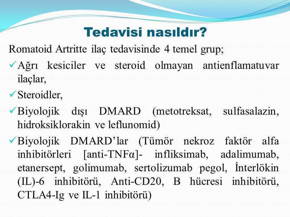 Tedavisi nasıldır? Romatoid Artritte ilaç tedavisinde 4 temel grup; Ağrı kesiciler ve steroid olmayan antienflamatuvar ilaçlar, Steroidler, Biyolojik
