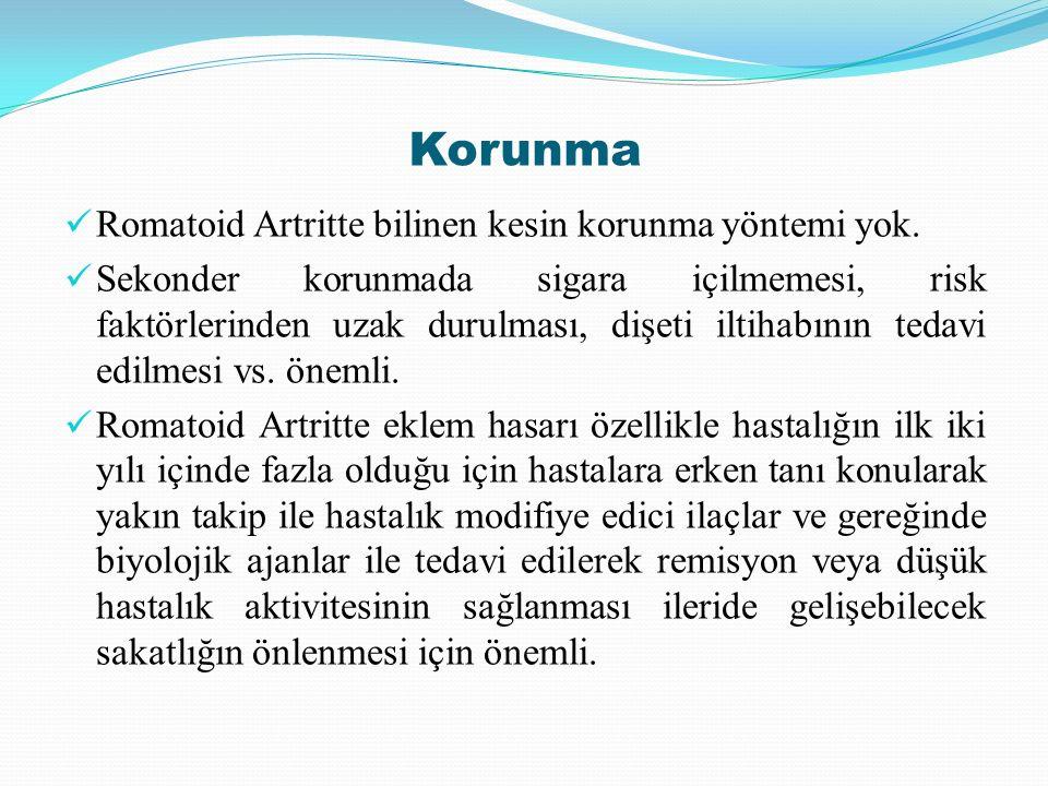 Korunma Romatoid Artritte bilinen kesin korunma yöntemi yok. Sekonder korunmada sigara içilmemesi, risk faktörlerinden uzak durulması, dişeti iltihabı