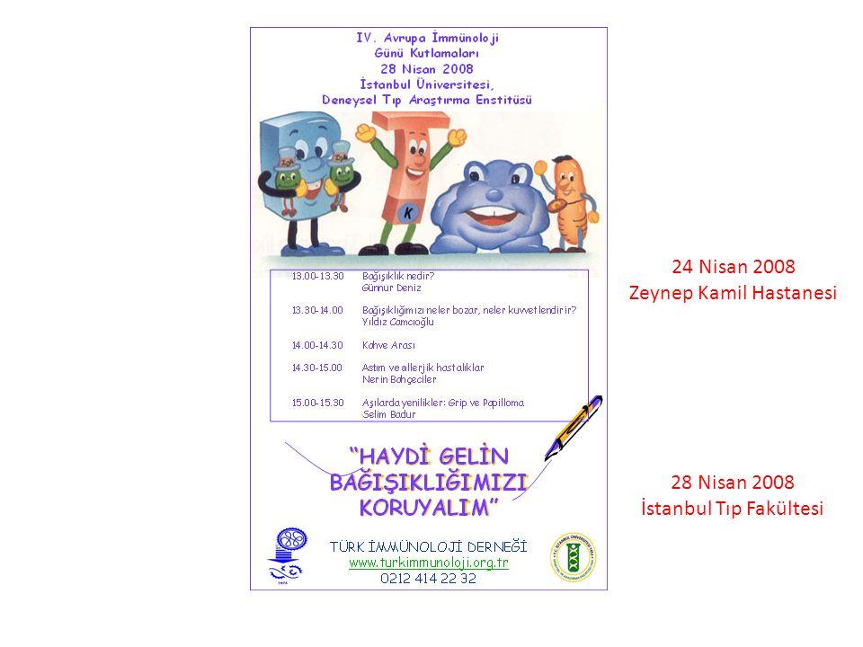 28 Nisan 2008 İstanbul Tıp Fakültesi 24 Nisan 2008 Zeynep Kamil Hastanesi
