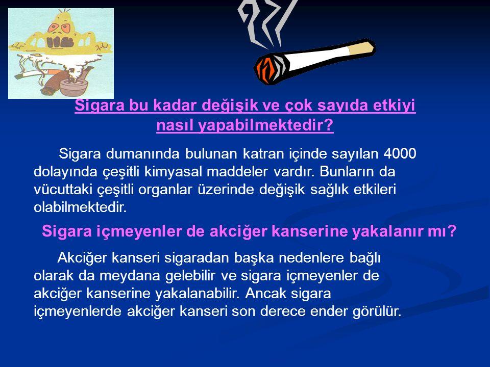 Sigara bu kadar değişik ve çok sayıda etkiyi nasıl yapabilmektedir.