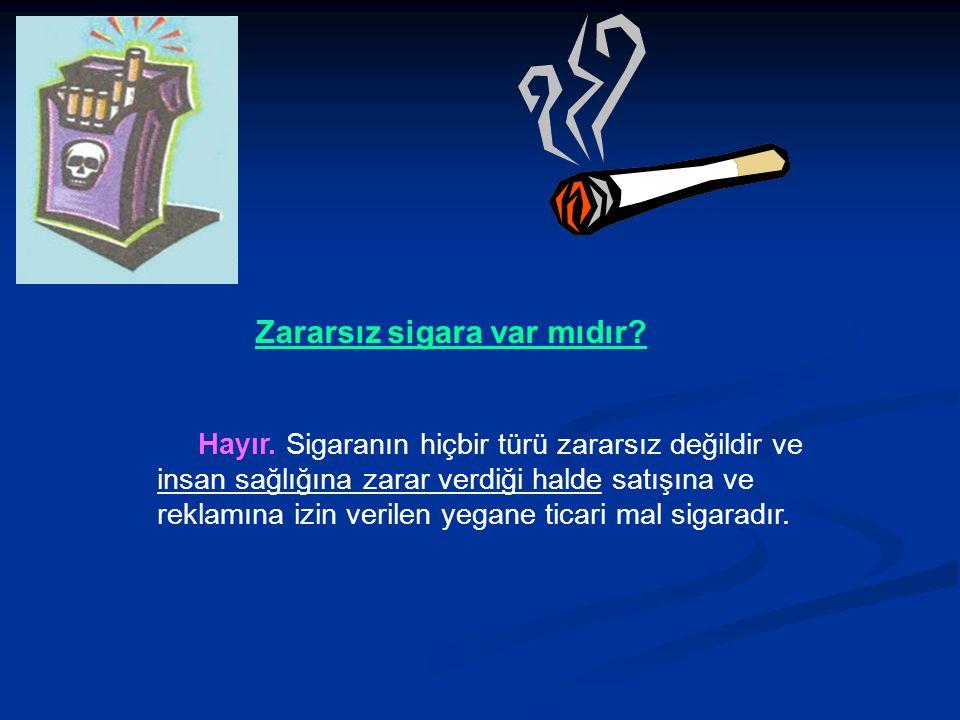Zararsız sigara var mıdır. Hayır.