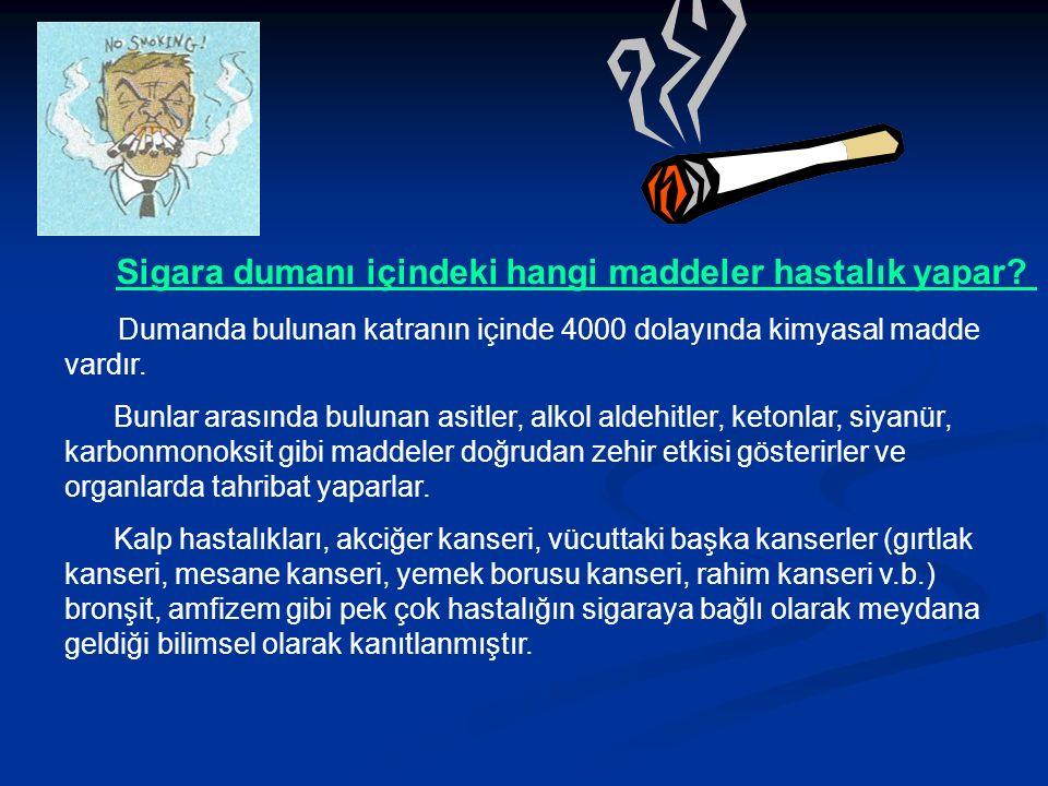 Sigara dumanı içindeki hangi maddeler hastalık yapar.