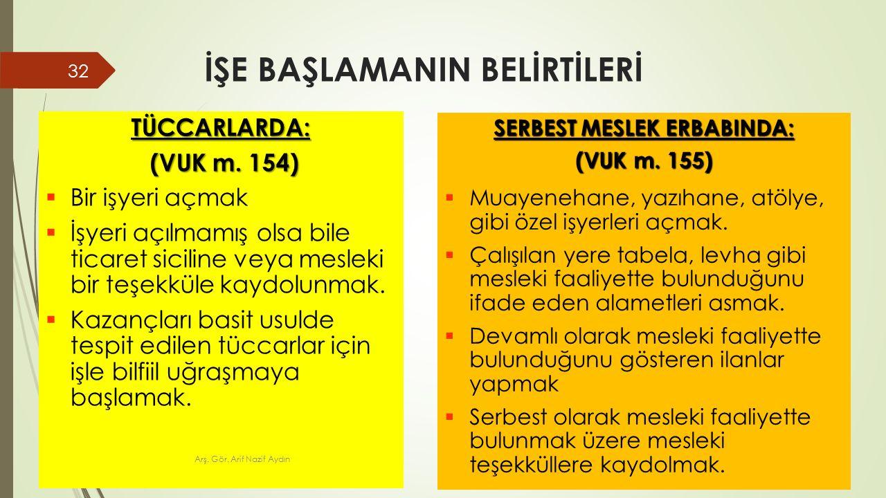 İŞE BAŞLAMANIN BELİRTİLERİ TÜCCARLARDA: (VUK m. 154) (VUK m.