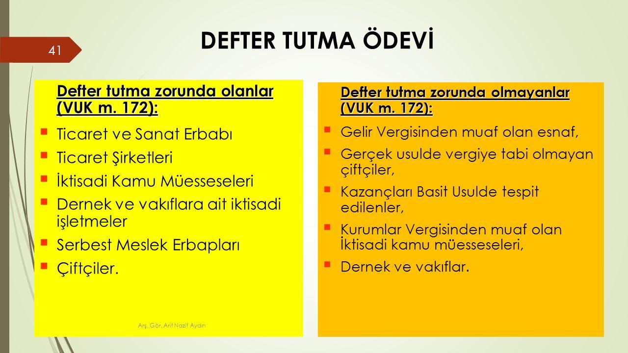 DEFTER TUTMA ÖDEVİ Defter tutma zorunda olanlar (VUK m.