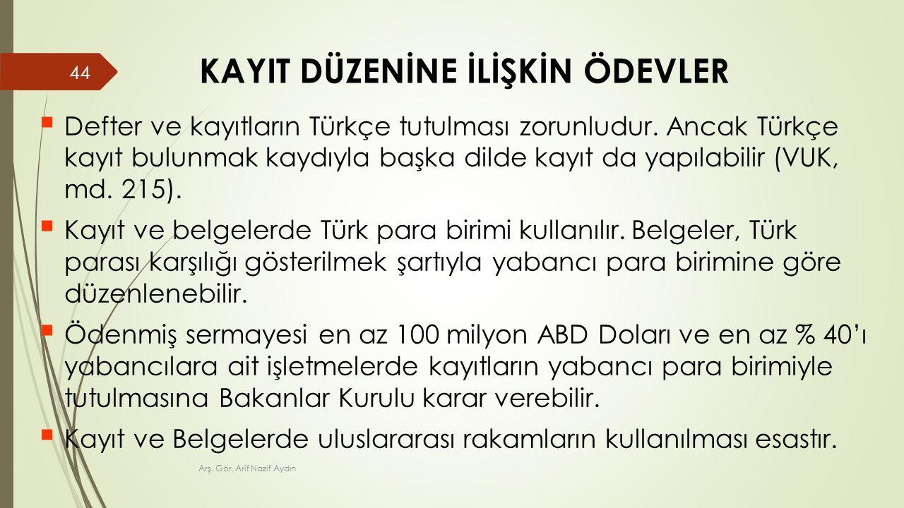 KAYIT DÜZENİNE İLİŞKİN ÖDEVLER  Defter ve kayıtların Türkçe tutulması zorunludur.