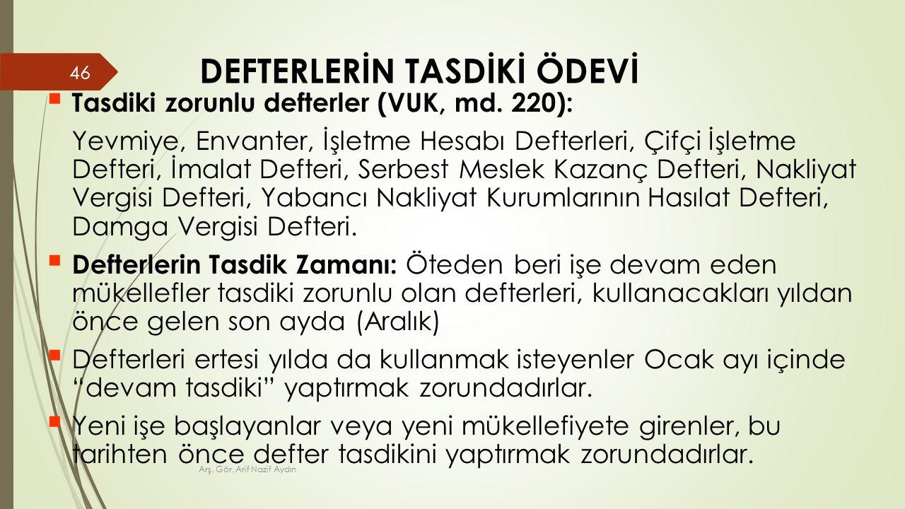 DEFTERLERİN TASDİKİ ÖDEVİ  Tasdiki zorunlu defterler (VUK, md.