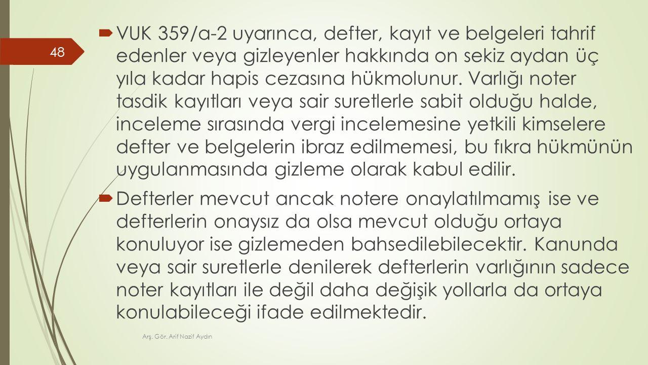  VUK 359/a-2 uyarınca, defter, kayıt ve belgeleri tahrif edenler veya gizleyenler hakkında on sekiz aydan üç yıla kadar hapis cezasına hükmolunur.
