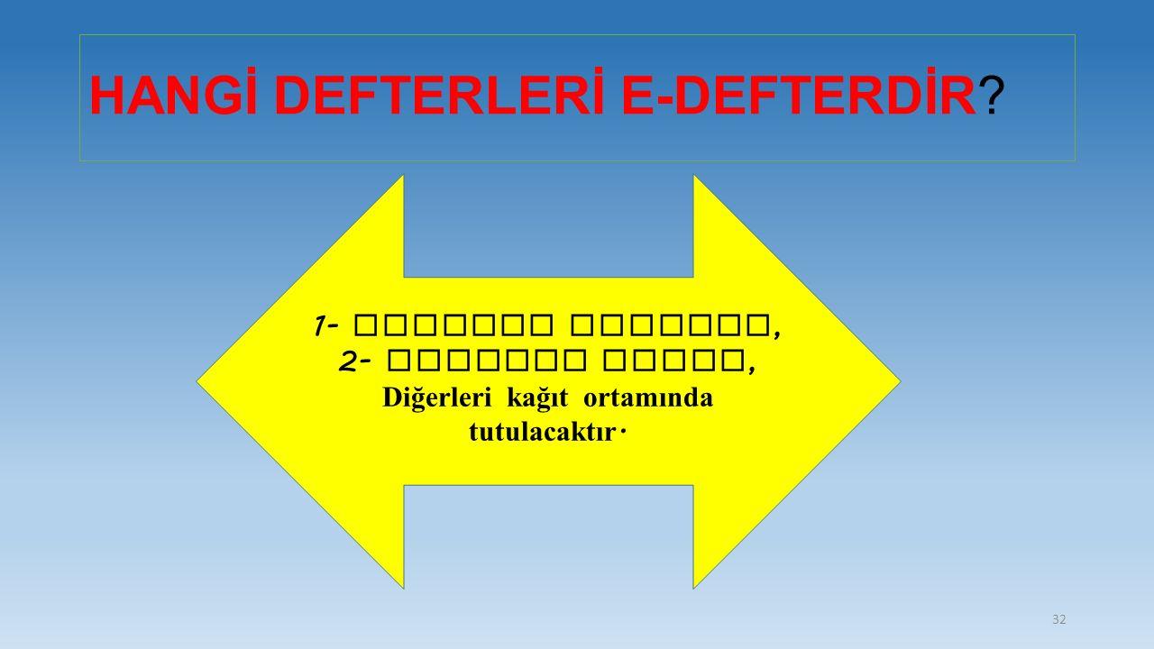 HANGİ DEFTERLERİ E-DEFTERDİR? 1- Yevmiye Defteri, 2- Defteri Kebir, Diğerleri kağıt ortamında tutulacaktır. 32