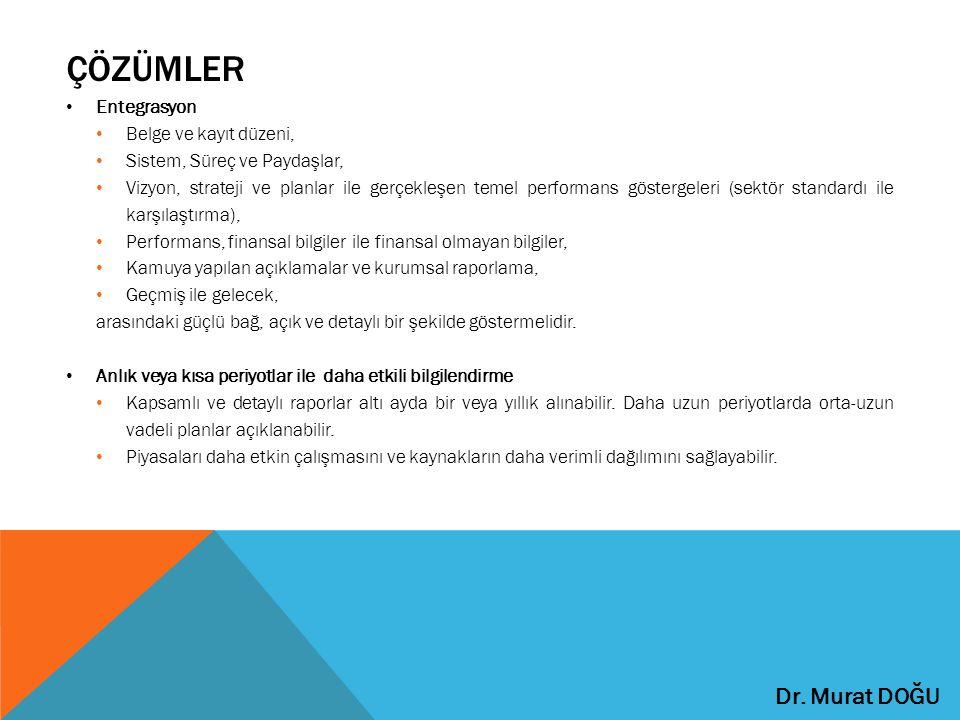 ÇÖZÜMLER Entegrasyon Belge ve kayıt düzeni, Sistem, Süreç ve Paydaşlar, Vizyon, strateji ve planlar ile gerçekleşen temel performans göstergeleri (sek