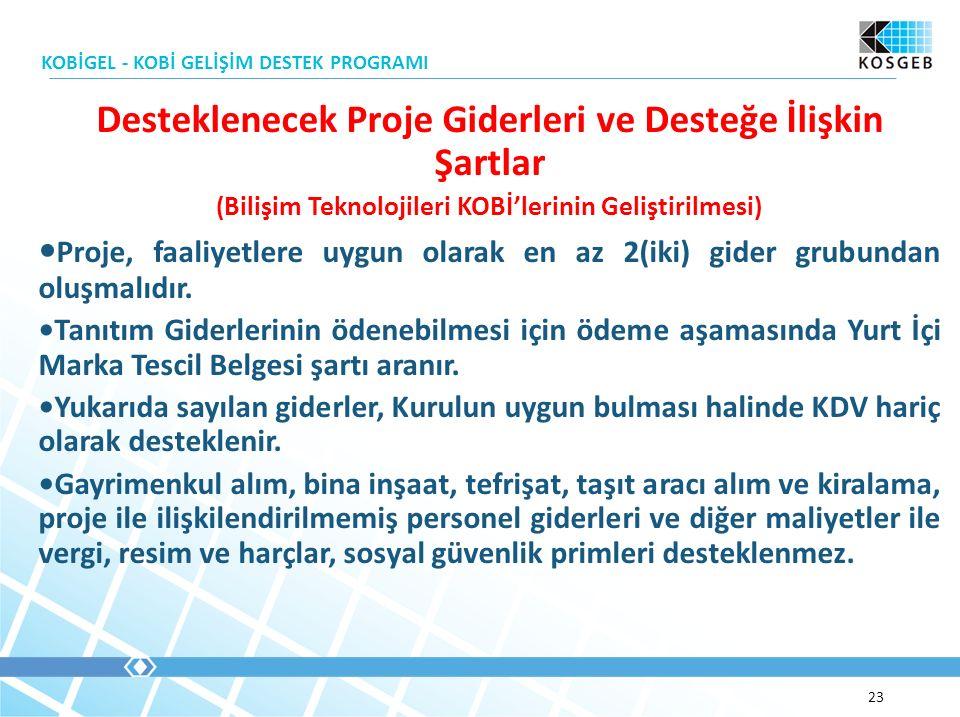 ( Bilişim Teknolojileri KOBİ'lerinin Geliştirilmesi ) Proje, faaliyetlere uygun olarak en az 2(iki) gider grubundan oluşmalıdır.
