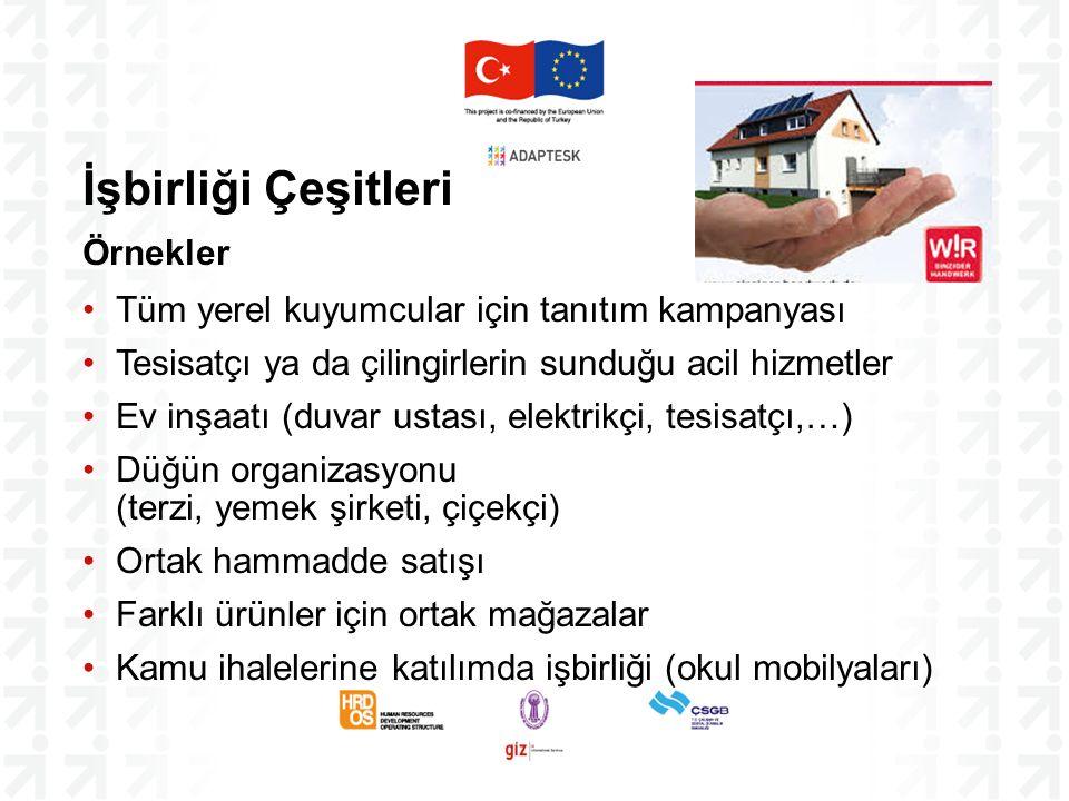 İşbirliği Çeşitleri Örnekler Tüm yerel kuyumcular için tanıtım kampanyası Tesisatçı ya da çilingirlerin sunduğu acil hizmetler Ev inşaatı (duvar ustas