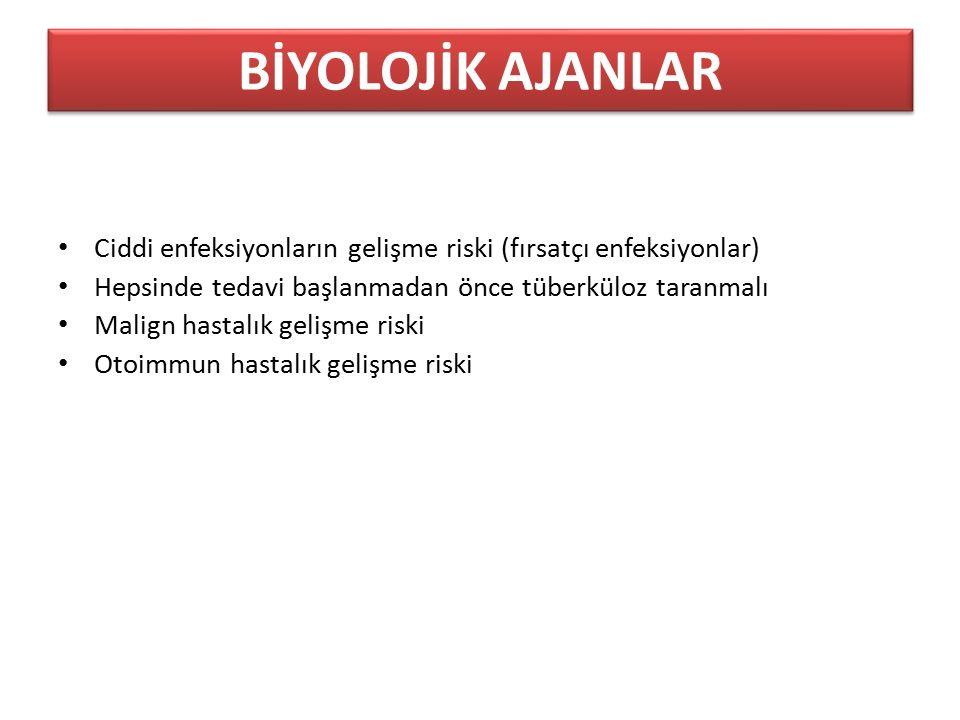 Ciddi enfeksiyonların gelişme riski (fırsatçı enfeksiyonlar) Hepsinde tedavi başlanmadan önce tüberküloz taranmalı Malign hastalık gelişme riski Otoim