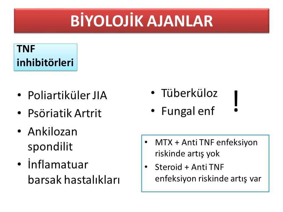 TNF inhibitörleri Poliartiküler JIA Psöriatik Artrit Ankilozan spondilit İnflamatuar barsak hastalıkları BİYOLOJİK AJANLAR Tüberküloz Fungal enf ! MTX