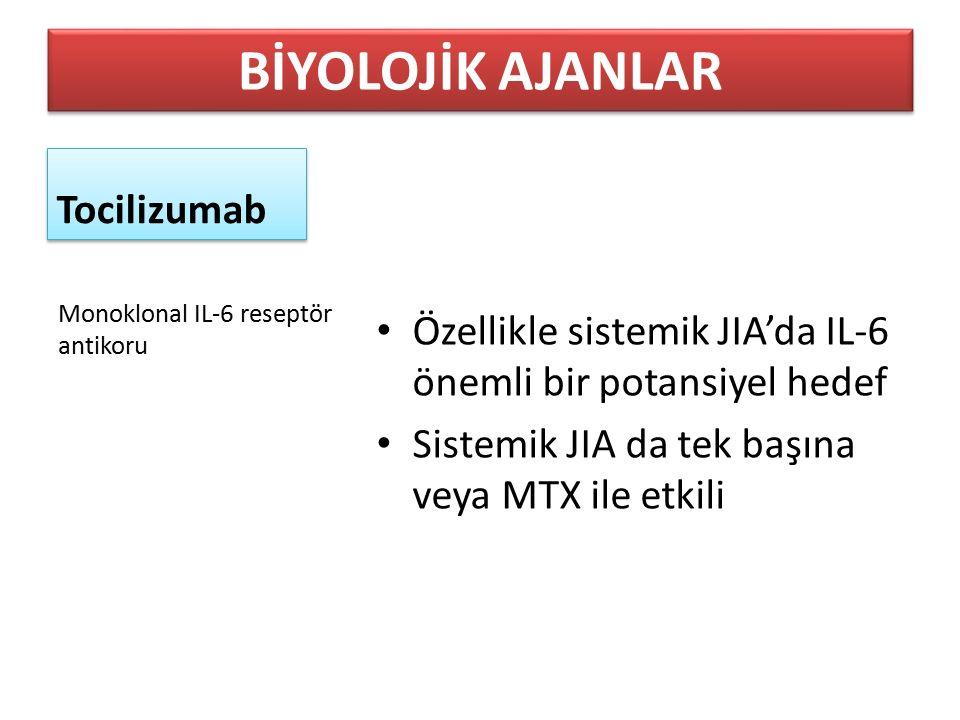 Tocilizumab Özellikle sistemik JIA'da IL-6 önemli bir potansiyel hedef Sistemik JIA da tek başına veya MTX ile etkili Monoklonal IL-6 reseptör antikor