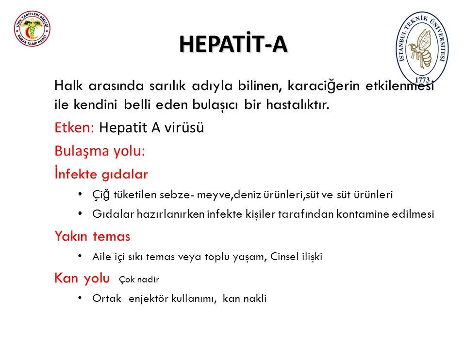 HEPATİT-A Halk arasında sarılık adıyla bilinen, karaci ğ erin etkilenmesi ile kendini belli eden bulaşıcı bir hastalıktır. Etken: Hepatit A virüsü Bul