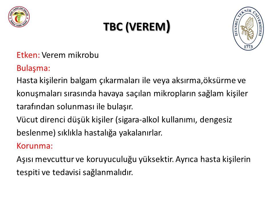 TBC (VEREM ) Etken: Verem mikrobu Bulaşma: Hasta kişilerin balgam çıkarmaları ile veya aksırma,öksürme ve konuşmaları sırasında havaya saçılan mikropların sağlam kişiler tarafından solunması ile bulaşır.