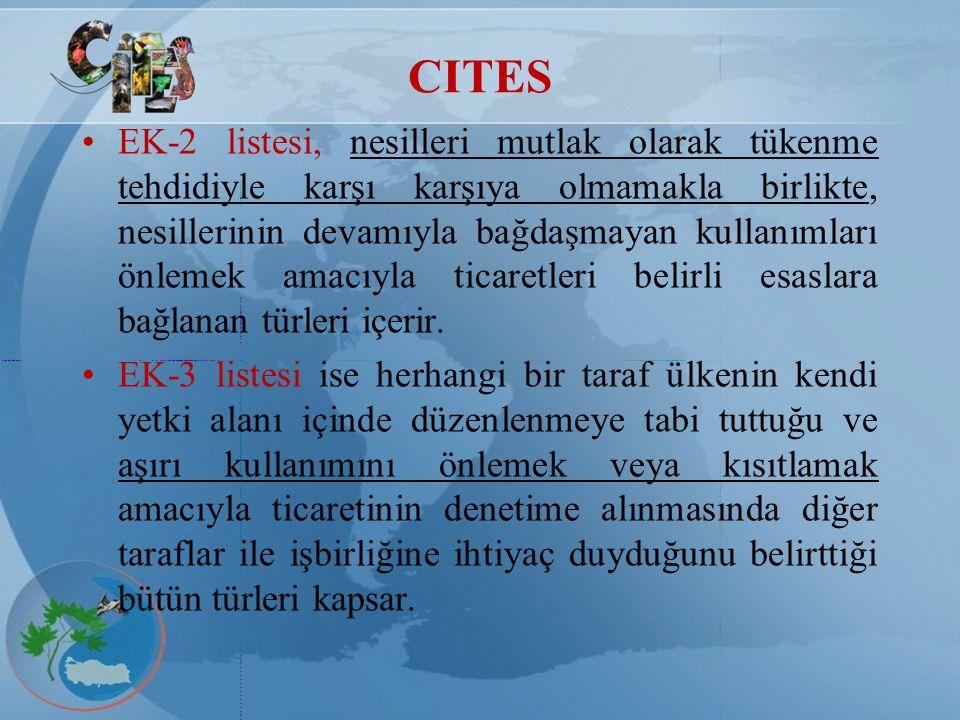 CITES EK-2 listesi, nesilleri mutlak olarak tükenme tehdidiyle karşı karşıya olmamakla birlikte, nesillerinin devamıyla bağdaşmayan kullanımları önlem