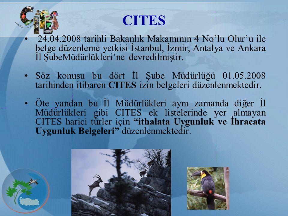 CITES 24.04.2008 tarihli Bakanlık Makamının 4 No'lu Olur'u ile belge düzenleme yetkisi İstanbul, İzmir, Antalya ve Ankara İl ŞubeMüdürlükleri'ne devre