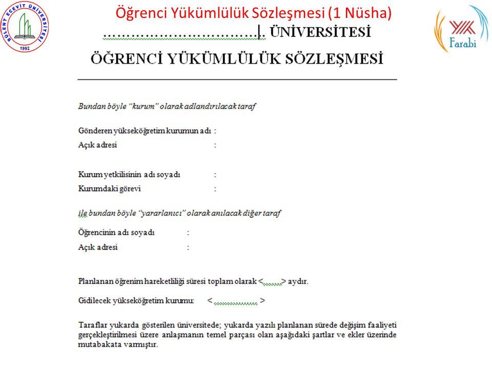 Öğrenci Yükümlülük Sözleşmesi (1 Nüsha)
