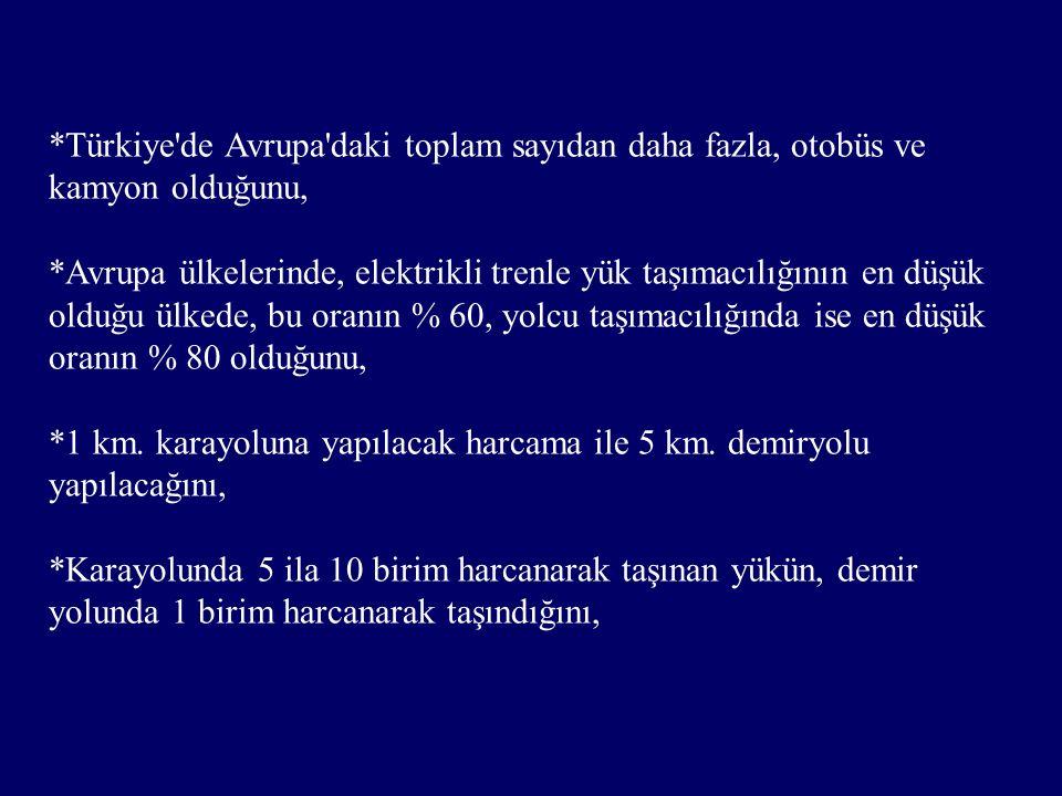 *Türkiye de Avrupa daki toplam sayıdan daha fazla, otobüs ve kamyon olduğunu, *Avrupa ülkelerinde, elektrikli trenle yük taşımacılığının en düşük olduğu ülkede, bu oranın % 60, yolcu taşımacılığında ise en düşük oranın % 80 olduğunu, *1 km.