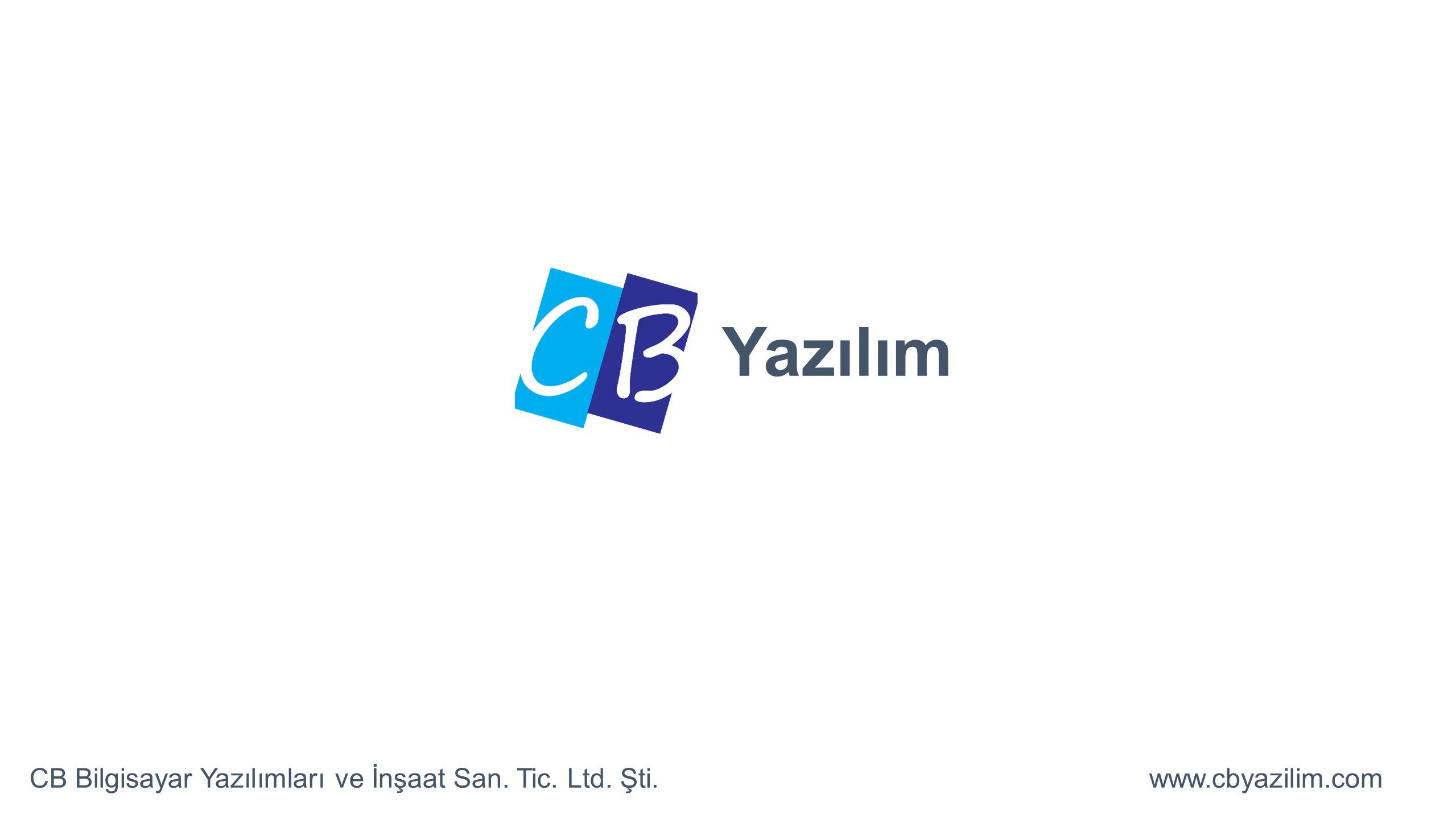 Yazılım CB Bilgisayar Yazılımları ve İnşaat San. Tic. Ltd. Şti.www.cbyazilim.com