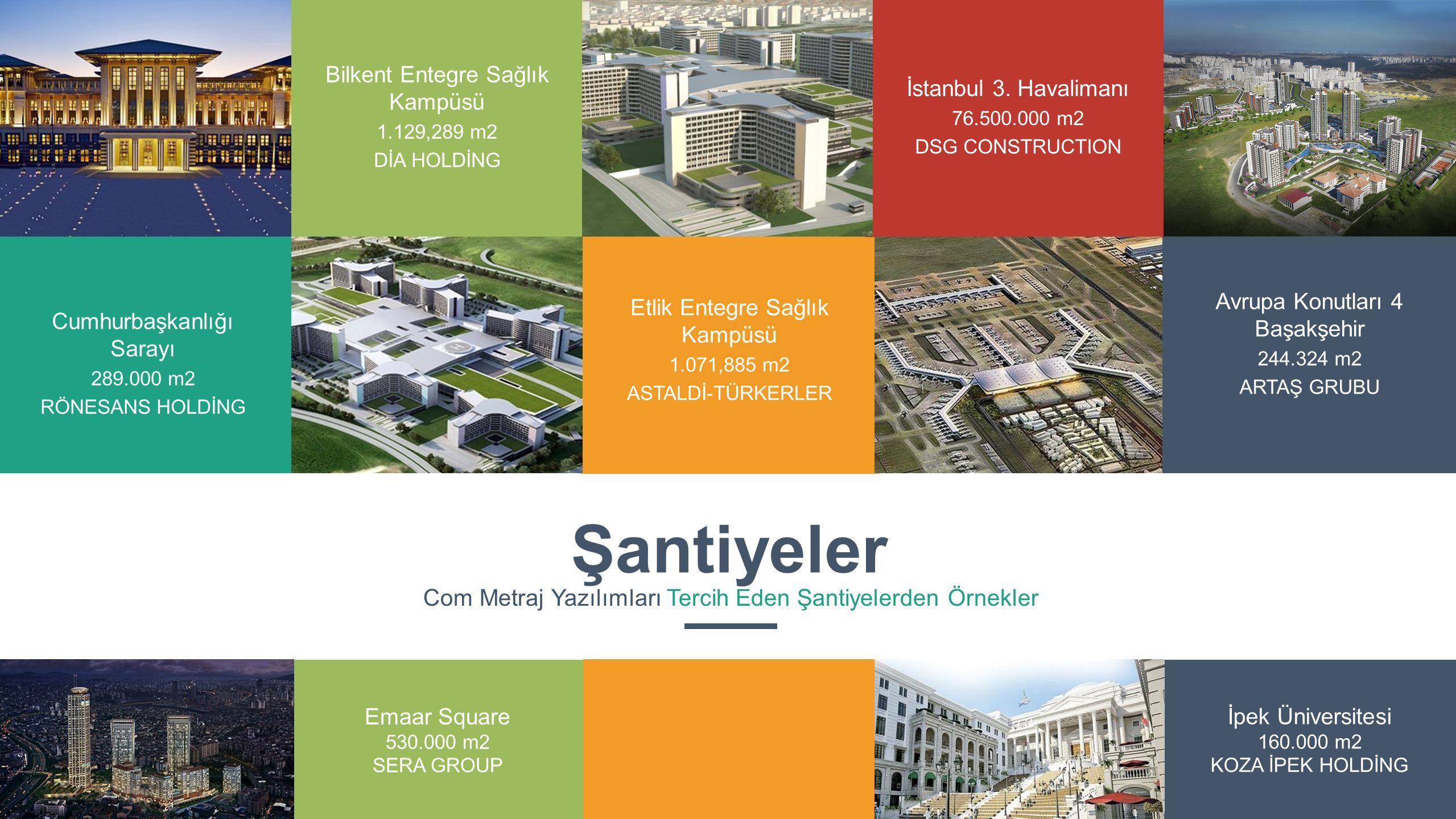 Şantiyeler Com Metraj Yazılımları Tercih Eden Şantiyelerden Örnekler Cumhurbaşkanlığı Sarayı 289.000 m2 RÖNESANS HOLDİNG Bilkent Entegre Sağlık Kampüs