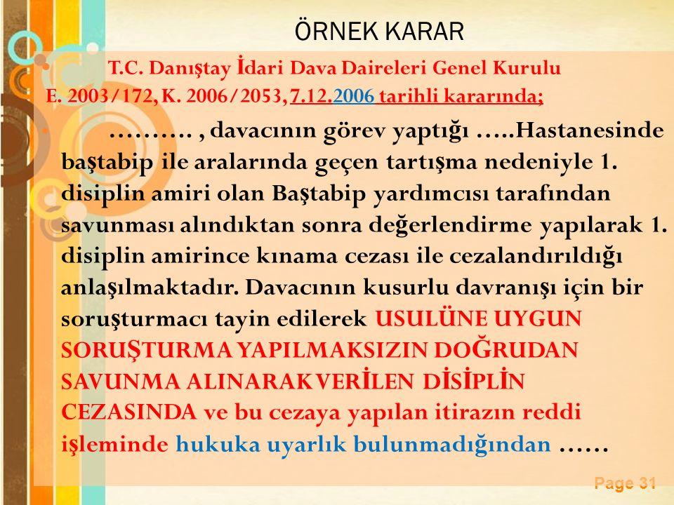 Page 31 ÖRNEK KARAR T.C.Danı ş tay İ dari Dava Daireleri Genel Kurulu E.