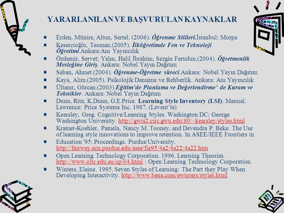 YARARLANILAN VE BAŞVURULAN KAYNAKLAR Erden, Münire, Altun, Sertel. (2006). Öğrenme Stilleri.İstanbul: Morpa Kesercioğlu, Teoman.(2005). İlköğretimde F