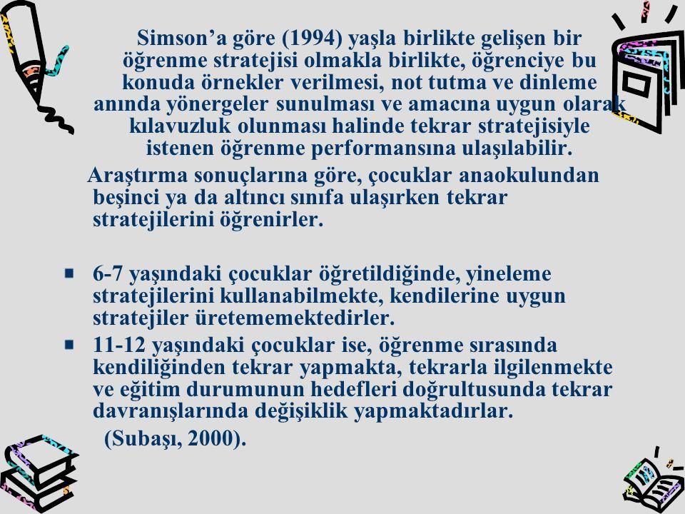 Simson'a göre (1994) yaşla birlikte gelişen bir öğrenme stratejisi olmakla birlikte, öğrenciye bu konuda örnekler verilmesi, not tutma ve dinleme anın