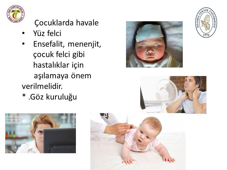 * Çocuklarda havale Yüz felci Ensefalit, menenjit, çocuk felci gibi hastalıklar için aşılamaya önem verilmelidir. *.Göz kuruluğu