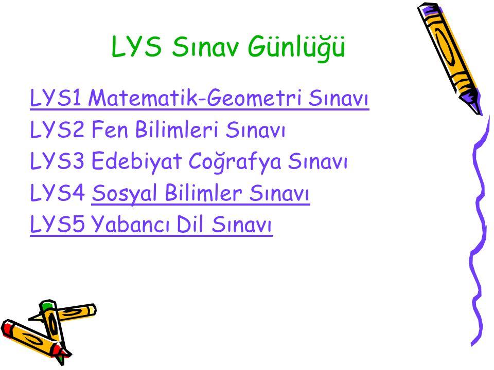 LYS Sınav Günlüğü LYS1 Matematik-Geometri Sınavı LYS2 Fen Bilimleri Sınavı LYS3 Edebiyat Coğrafya Sınavı LYS4 Sosyal Bilimler Sınavı LYS5 Yabancı Dil Sınavı