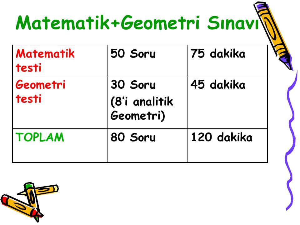 Matematik+Geometri Sınavı Matematik testi 50 Soru75 dakika Geometri testi 30 Soru (8'i analitik Geometri) 45 dakika TOPLAM80 Soru120 dakika