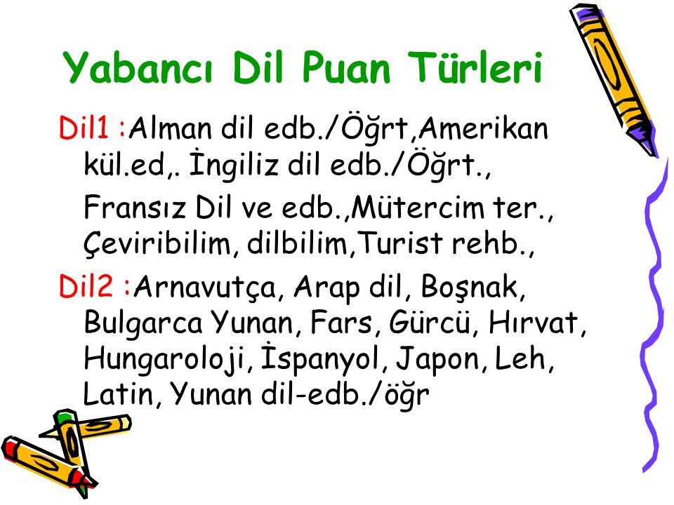 Yabancı Dil Puan Türleri Dil1 :Alman dil edb./Öğrt,Amerikan kül.ed,.