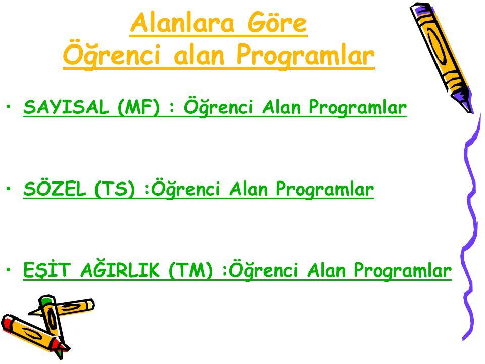 Alanlara Göre Öğrenci alan Programlar SAYISAL (MF) : Öğrenci Alan Programlar SÖZEL (TS) :Öğrenci Alan Programlar EŞİT AĞIRLIK (TM) :Öğrenci Alan Programlar