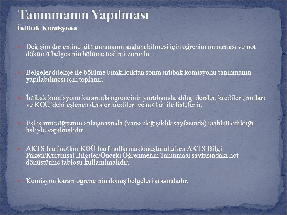 İntibak Komisyonu Değişim dönemine ait tanınmanın sağlanabilmesi için öğrenim anlaşması ve not dökümü belgesinin bölüme teslimi zorunlu.
