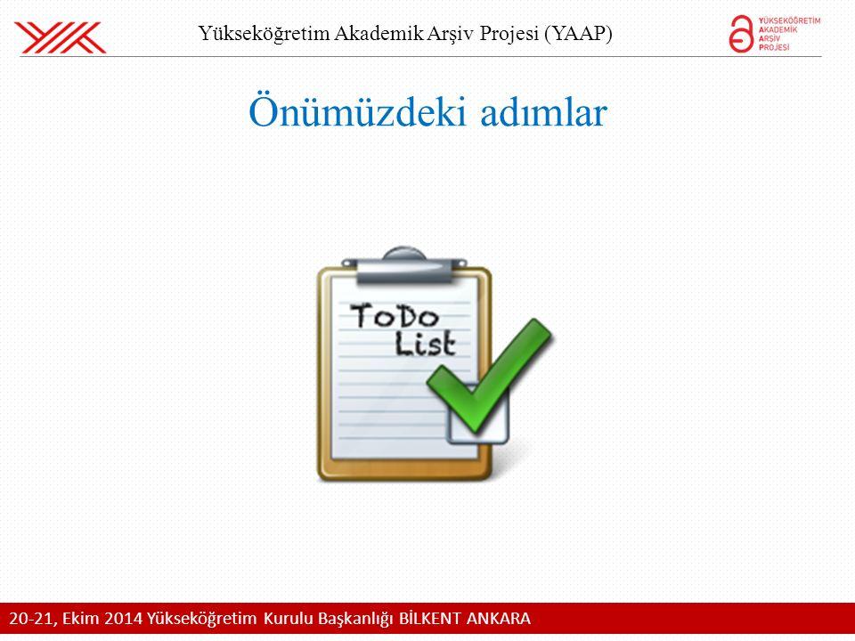 20-21, Ekim 2014 Yükseköğretim Kurulu Başkanlığı BİLKENT ANKARA Yükseköğretim Akademik Arşiv Projesi (YAAP) Önümüzdeki adımlar