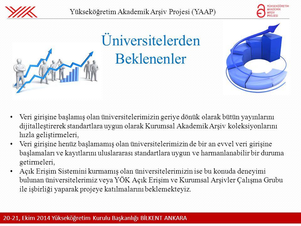 20-21, Ekim 2014 Yükseköğretim Kurulu Başkanlığı BİLKENT ANKARA Üniversitelerden Beklenenler Veri girişine başlamış olan üniversitelerimizin geriye dönük olarak bütün yayınlarını dijitalleştirerek standartlara uygun olarak Kurumsal Akademik Arşiv koleksiyonlarını hızla geliştirmeleri, Veri girişine henüz başlamamış olan üniversitelerimizin de bir an evvel veri girişine başlamaları ve kayıtlarını uluslararası standartlara uygun ve harmanlanabilir bir duruma getirmeleri, Açık Erişim Sistemini kurmamış olan üniversitelerimizin ise bu konuda deneyimi bulunan üniversitelerimiz veya YÖK Açık Erişim ve Kurumsal Arşivler Çalışma Grubu ile işbirliği yaparak projeye katılmalarını beklemekteyiz.