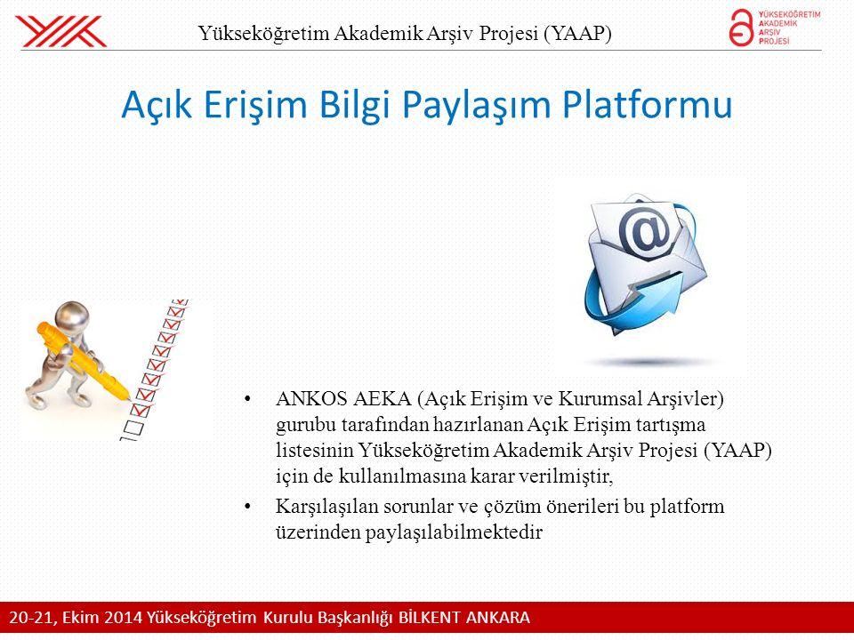 ANKOS AEKA (Açık Erişim ve Kurumsal Arşivler) gurubu tarafından hazırlanan Açık Erişim tartışma listesinin Yükseköğretim Akademik Arşiv Projesi (YAAP) için de kullanılmasına karar verilmiştir, Karşılaşılan sorunlar ve çözüm önerileri bu platform üzerinden paylaşılabilmektedir Açık Erişim Bilgi Paylaşım Platformu 20-21, Ekim 2014 Yükseköğretim Kurulu Başkanlığı BİLKENT ANKARA Yükseköğretim Akademik Arşiv Projesi (YAAP)