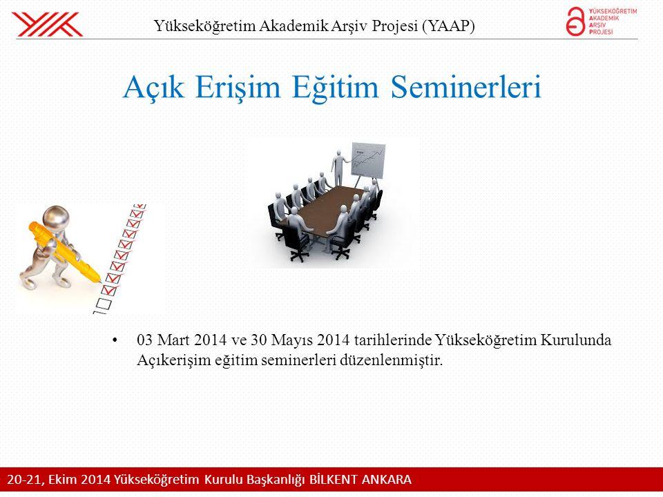 03 Mart 2014 ve 30 Mayıs 2014 tarihlerinde Yükseköğretim Kurulunda Açıkerişim eğitim seminerleri düzenlenmiştir.