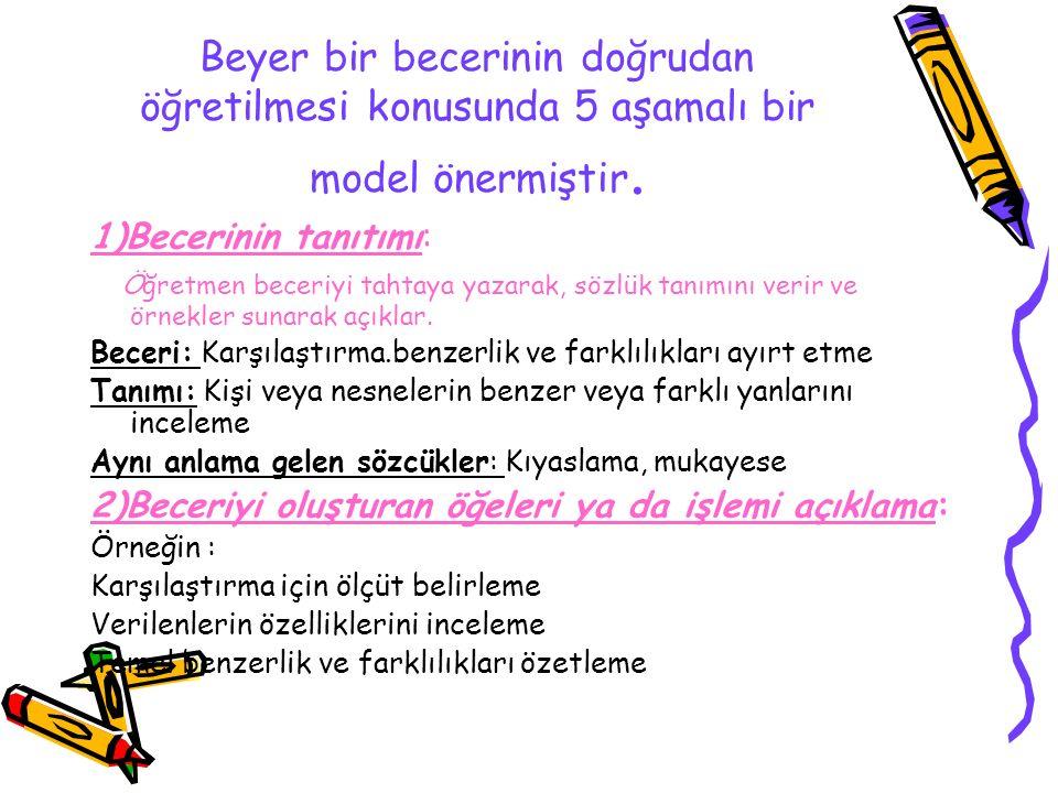 Beyer bir becerinin doğrudan öğretilmesi konusunda 5 aşamalı bir model önermiştir. 1)Becerinin tanıtımı: Öğretmen beceriyi tahtaya yazarak, sözlük tan