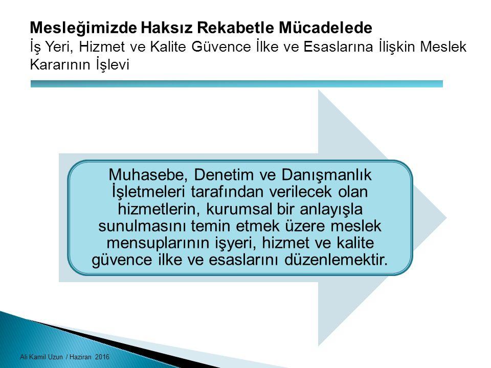 Ali Kamil Uzun / Haziran 2016 Mesleğimizde Haksız Rekabetle Mücadelede İş Yeri, Hizmet ve Kalite Güvence İlke ve Esaslarına İlişkin Meslek Kararının İ