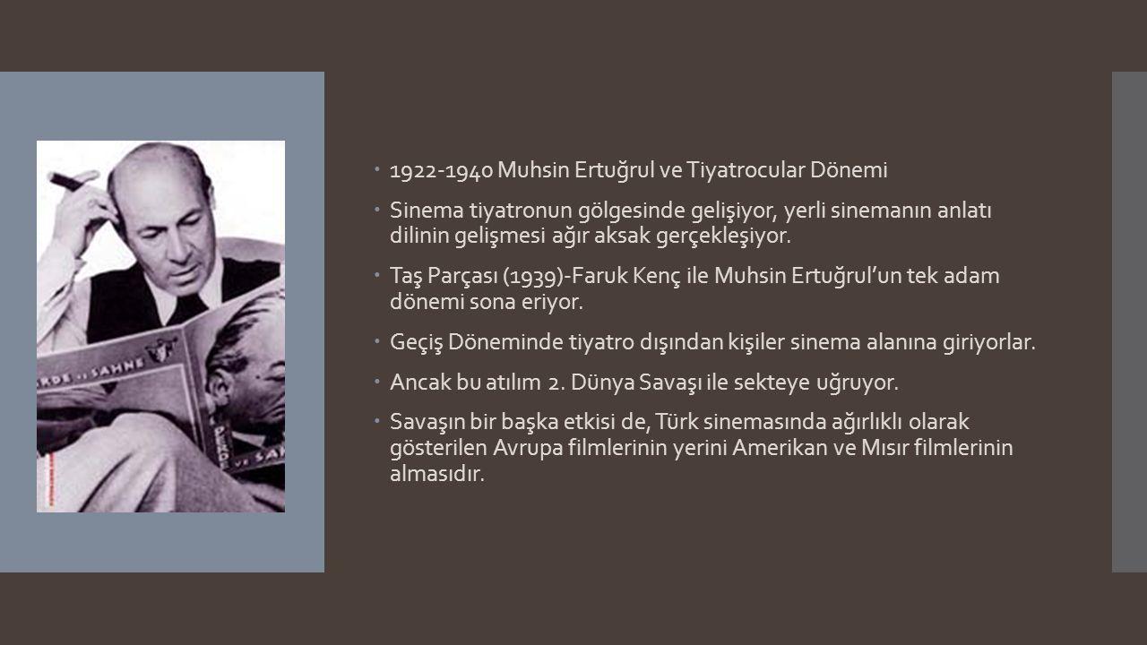  1922-1940 Muhsin Ertuğrul ve Tiyatrocular Dönemi  Sinema tiyatronun gölgesinde gelişiyor, yerli sinemanın anlatı dilinin gelişmesi ağır aksak gerçe