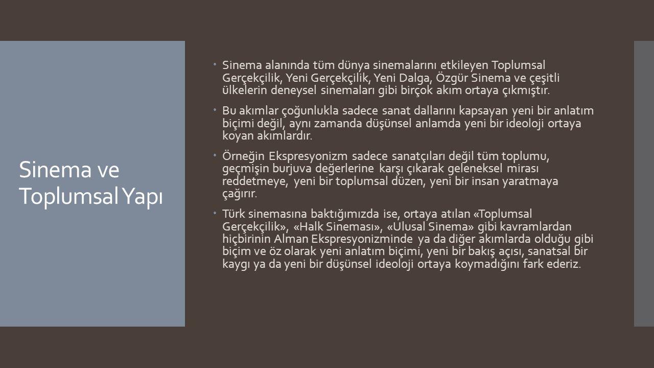 Sinema ve Toplumsal Yapı  Türkiye'de 1960'tan itibaren gelişmeye başlayan ve birçok tartışmaya konu olan bu kavramlar, günün sosyal, siyasal ve ekonomik koşullarından, özellikle de siyasal durumdan kaynaklanan, onunla birlikte hareket eden, sallanan, ilerleyen ve tökezleyen «moda»lardır.