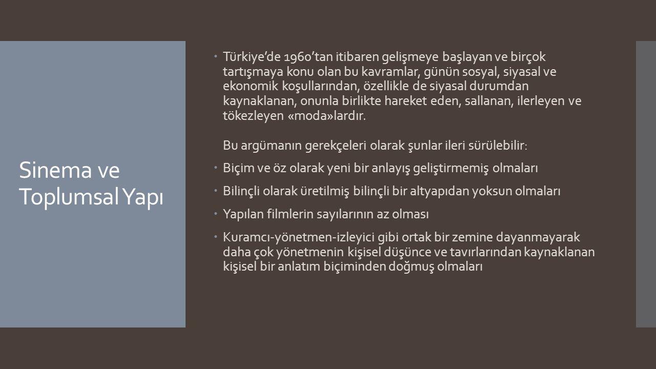 Sinema ve Toplumsal Yapı  Türkiye'de 1960'tan itibaren gelişmeye başlayan ve birçok tartışmaya konu olan bu kavramlar, günün sosyal, siyasal ve ekono