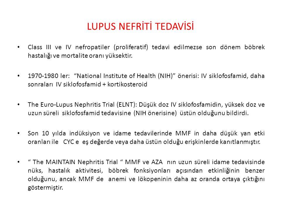 LUPUS NEFRİTİ TEDAVİSİ Class III ve IV nefropatiler (proliferatif) tedavi edilmezse son dönem böbrek hastalığı ve mortalite oranı yüksektir.