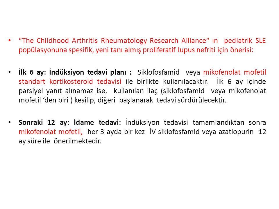 The Childhood Arthritis Rheumatology Research Alliance ın pediatrik SLE popülasyonuna spesifik, yeni tanı almış proliferatif lupus nefriti için önerisi: İlk 6 ay: İndüksiyon tedavi planı : Siklofosfamid veya mikofenolat mofetil standart kortikosteroid tedavisi ile birlikte kullanılacaktır.
