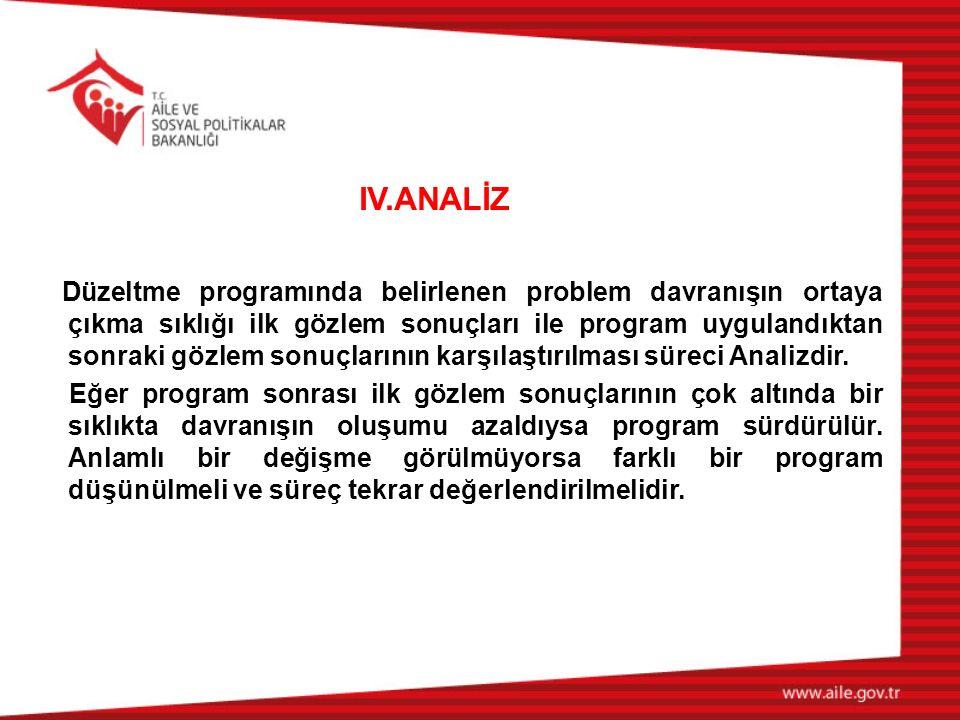 IV.ANALİZ Düzeltme programında belirlenen problem davranışın ortaya çıkma sıklığı ilk gözlem sonuçları ile program uygulandıktan sonraki gözlem sonuçlarının karşılaştırılması süreci Analizdir.