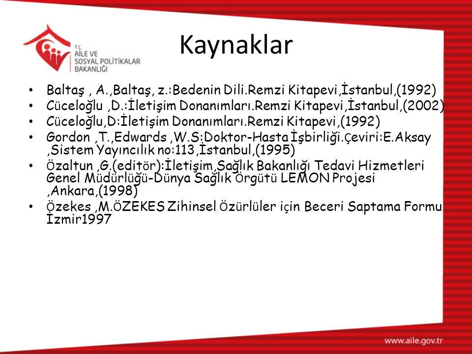 Kaynaklar Baltaş, A.,Baltaş, z.:Bedenin Dili.Remzi Kitapevi,İstanbul,(1992) C ü celoğlu,D.:İletişim Donanımları.Remzi Kitapevi,İstanbul,(2002) C ü celoğlu,D:İletişim Donanımları.Remzi Kitapevi,(1992) Gordon,T.,Edwards,W.S:Doktor-Hasta İşbirliği.