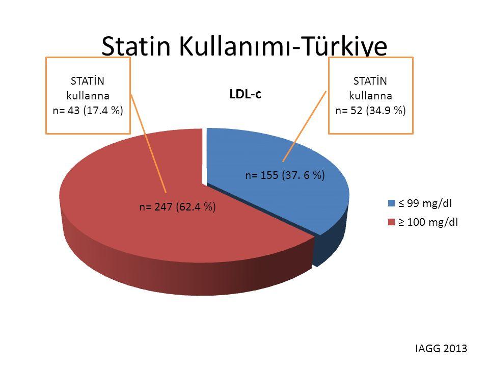 Statin Kullanımı-Türkiye STATİN kullanna n= 43 (17.4 %) STATİN kullanna n= 52 (34.9 %) IAGG 2013